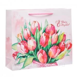 Пакет ламинированный горизонтальный «Цветочная нежность», M 26 × 30 × 9 см