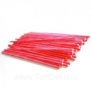 Палочки бумажные для Cake pops (красные, 15 см, 50 шт)