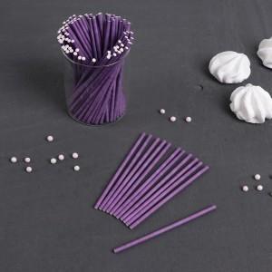 Палочки бумажные для Cake pops (сиреневые, 15 см, 100 шт)
