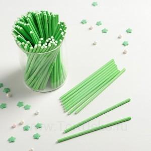 Палочки бумажные для Cake pops (зеленые, 15 см, 100 шт)