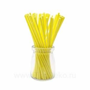 Палочки бумажные для Cake pops (желтые, 15 см, 50 шт)