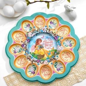 Пасхальная подставка на 12 яиц и кулич «Ангел с цыплятами», 30 х 30 см