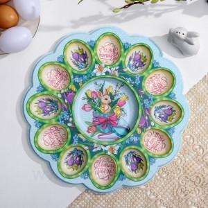 Пасхальная подставка на 12 яиц и кулич «Кролик», 30 х 30 см