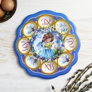 Пасхальная подставка на 8 яиц и кулич «Ангелочек с цыплятами», 24 х 25 см