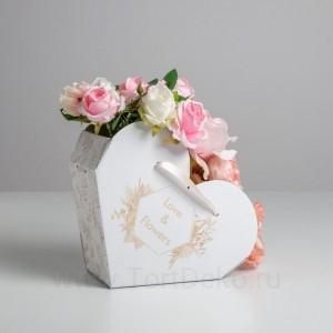 Переноска сердце складная с лентами Love and flowers, 25 × 22 × 11 см