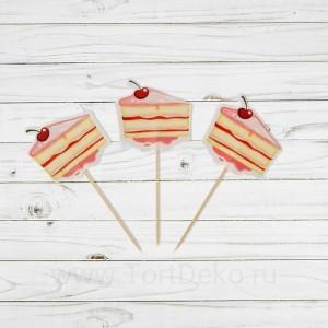 """Пика для канапе """"Тортик"""" с ягодкой, набор 24шт"""
