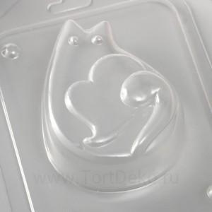 """Пластиковая форма """"Котик с сердечком"""" 8,5х6 см"""