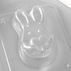 """Пластиковая форма """"Зайчик с сердечком"""" 9х5 см"""