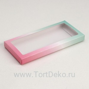 Подарочная коробка под плитку шоколада, Градиент «розово-зеленые», 17,1 х 8 х 1,4 см