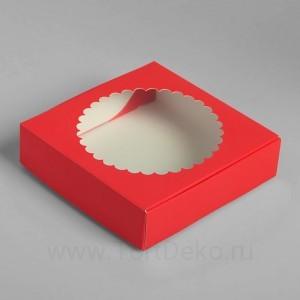 Подарочная коробка с окном, красный 11,5 х 11,5 х 3 см