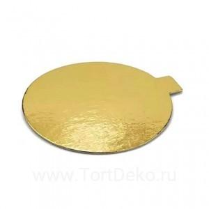Подложка D 80 мм, 0,8 мм, с держателем (золото, круглая)