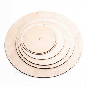 Подложка из фанеры, D=120 мм, толщина 3 мм, отверстие 10,5 мм