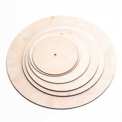 Подложка из фанеры, D=200 мм, толщина 3 мм, отверстие 10,5 мм