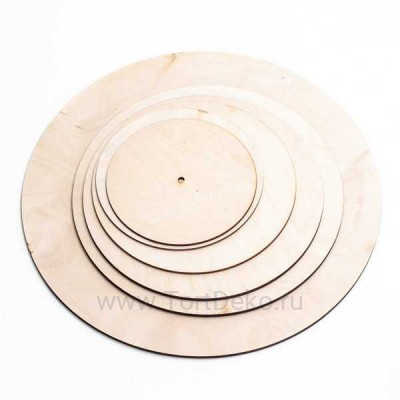 Подложка из фанеры, D=320 мм, толщина 6 мм, отверстие 10 мм