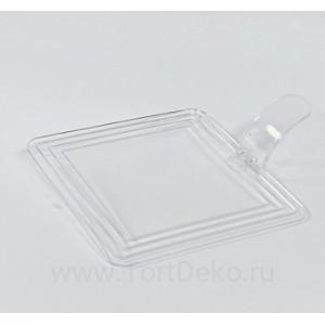 Подложка пластиковая квадратная 7,2*7,2 см (Прозрачная), (10 шт)