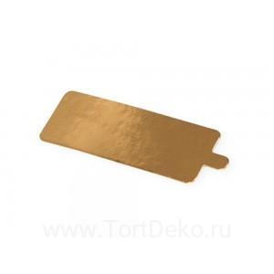Подложка с держателем 130*40 мм, 0,8 мм (золото, прямоугольная)