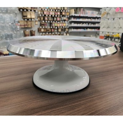 Поворотный столик вращающийся профессиональный металлический, D 31 см (Белый)