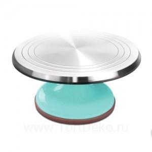 Поворотный столик вращающийся профессиональный металлический, D 31 см (Бирюзовый)