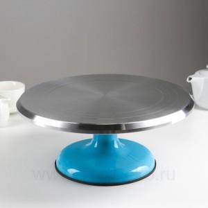 Поворотный столик вращающийся профессиональный металлический, D 31 см, (Голубой)