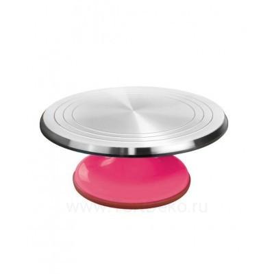 Поворотный столик вращающийся профессиональный металлический, D 31 см (Розовый)
