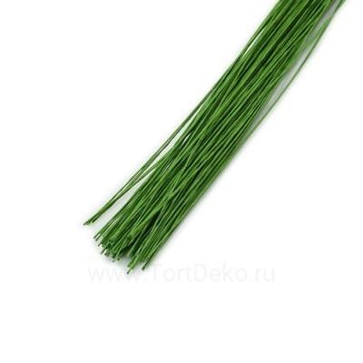 Проволока в бумажной обмотке пучок (50 шт), 36см №30 Зелёная