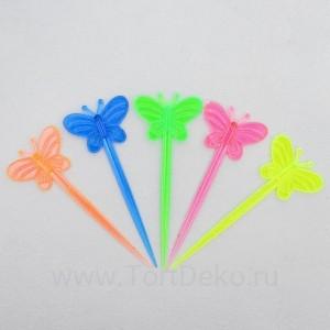 """Шпажки для канапе """"Бабочка"""" цвета МИКС (набор 24 шт)"""