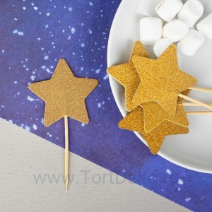 Шпажки «Звезда», набор 12 шт., цвет золотой