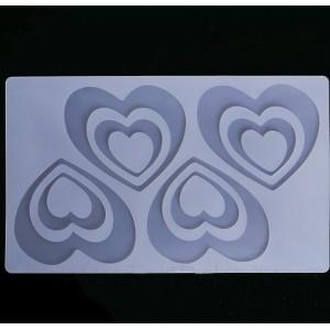 Силиконовый мат для отливки шоколада «Двойные сердечки»