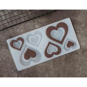 """Силиконовый мат для отливки шоколада """"Сердечки с розой"""""""