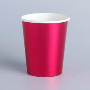 Стакан бумажный, цвет розовый, набор 6 шт