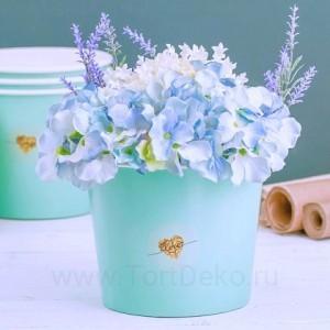 Стаканчик для цветов LOVE, голубой 13,5 × 16 см