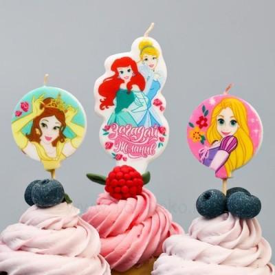"""Свеча в торт набор """"С Днем Рождения!"""", Принцессы"""