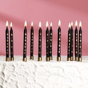 """Свечи в торт """"Золотая звезда"""", 12 шт, чёрный"""