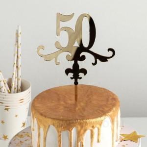 """Топпер на торт """"50"""" 13х18 см, цвет золото"""