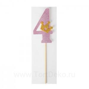 """Топпер """"4"""" с короной, розовый"""