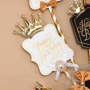 Топпер роскошный «Happy Birthday» (белая табличка, брошь с короной)
