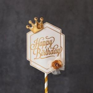 Топпер роскошный «Happy Birthday» (белая табличка, роза с короной)