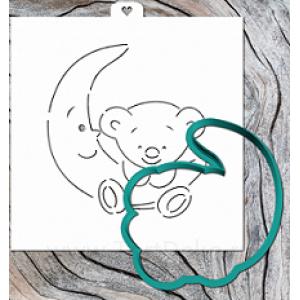 Трафарет+форма «Мишка и месяц»