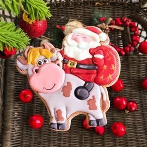"Трафарет + форма ""Дед Мороз на быке"""
