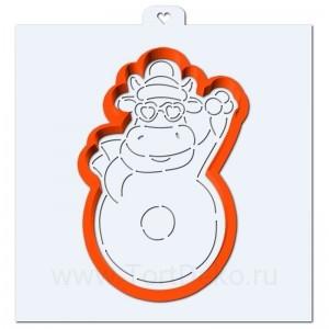 """Трафарет + форма """"Коровка с пончиком"""""""