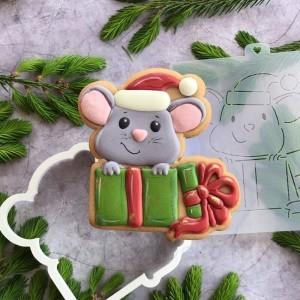 "Трафарет + форма ""Мышка в подарке"""