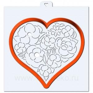 "Трафарет + форма ""Сердце с цветами"""