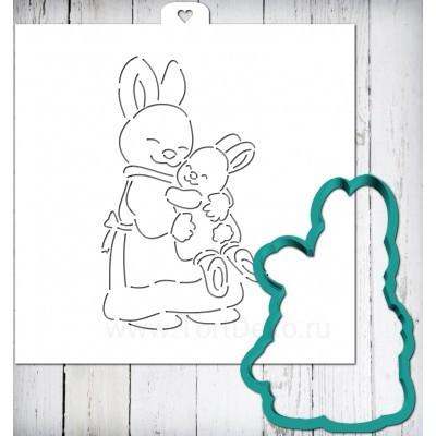"""Трафарет + форма """"Зайчики. Мама и малыш"""""""