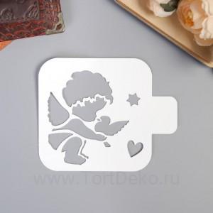 """Трафарет пластик """"Ангел малыш с голубем""""9х9 см"""