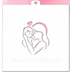 """Трафарет """"Мама с ребенком и сердцем"""""""