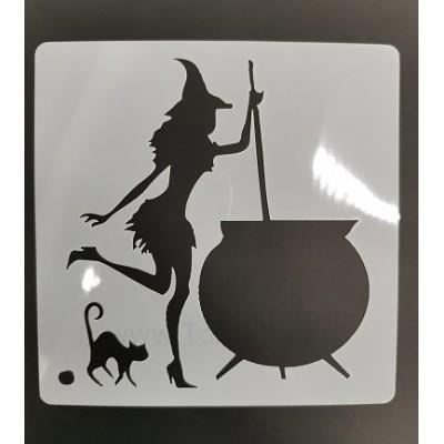 "Трафарет ""Ведьма с котлом"" 15х15 см"