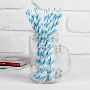 """Трубочка для коктейля """"Спираль"""" набор 25 шт, цвет белый-голубой"""