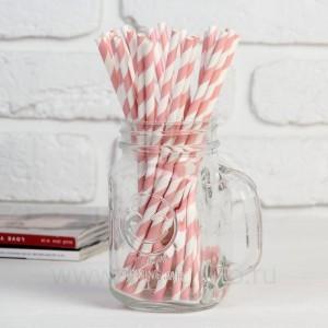 """Трубочка для коктейля """"Спираль"""" набор 25 шт, цвет белый-светло розовый"""