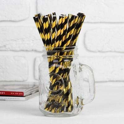 """Трубочка для коктейля """"Спираль"""" набор 25шт, цвет чёрный-золото"""