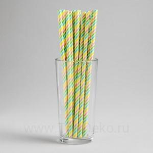 "Трубочки для коктейля ""Цветная спираль"" набор 12 шт"